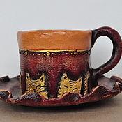 """Чайные пары ручной работы. Ярмарка Мастеров - ручная работа Керамическая чайная пара """"Такие разные коты"""". Handmade."""
