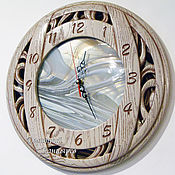 Для дома и интерьера handmade. Livemaster - original item round wall clock with stained glass, mirror. Handmade.