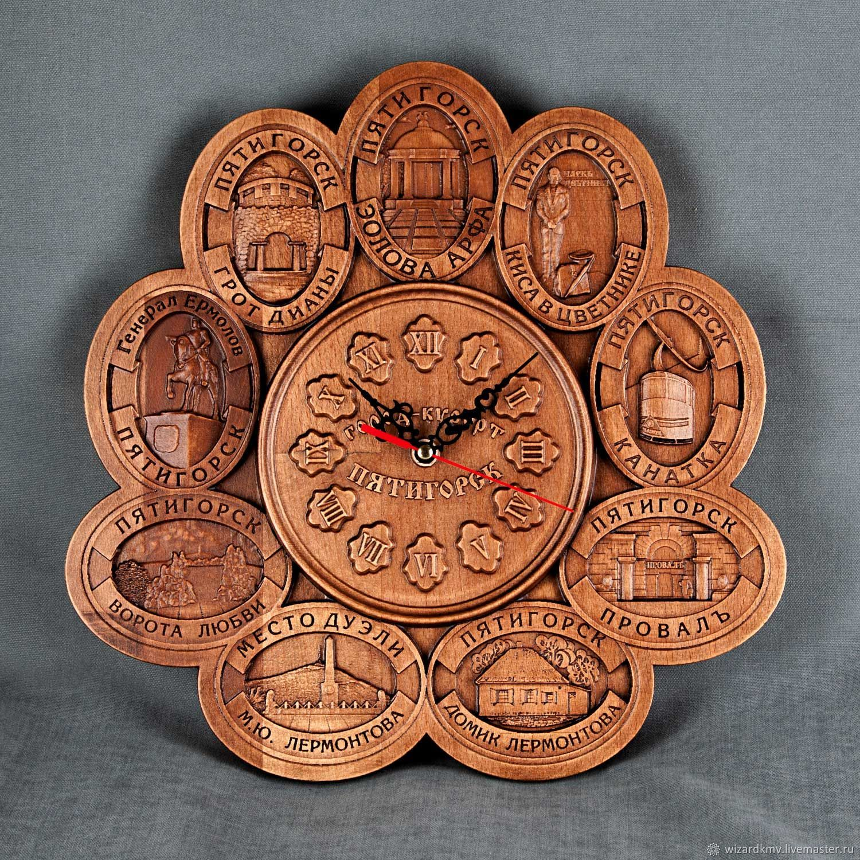 Часы для дома ручной работы. Ярмарка Мастеров - ручная работа. Купить Часы'Пятигорские'. Handmade. Коричневый, провал, место дуэли