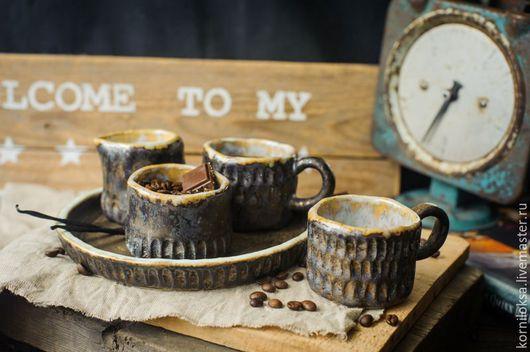 Кружки и чашки ручной работы. Ярмарка Мастеров - ручная работа. Купить Кофейный набор.. Handmade. Комбинированный, посудная лавка, Керамика