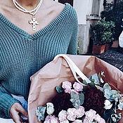 Одежда handmade. Livemaster - original item Women`s sweater with neck in gray. Handmade.