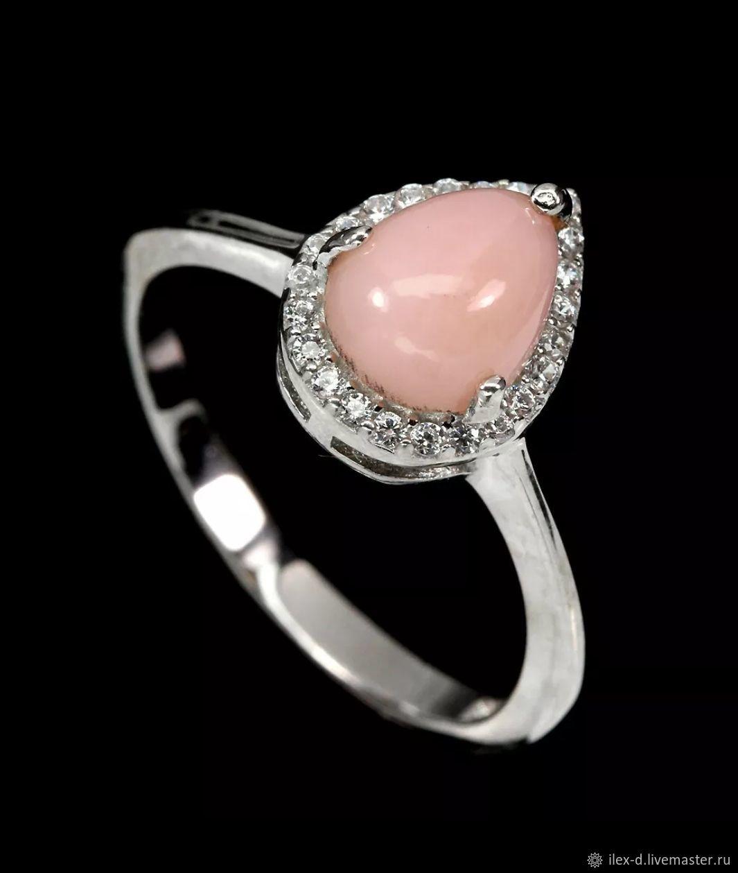 Серебряное кольцо с розовым опалом, 925 проба, Кольца, Москва,  Фото №1