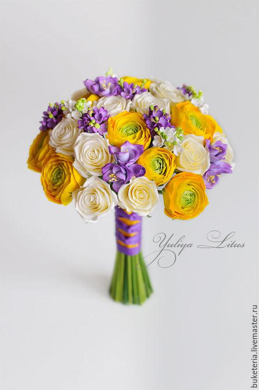 Свадебные цветы ручной работы. Ярмарка Мастеров - ручная работа. Купить Букет невесты с желтыми ранункулюсами. Handmade.