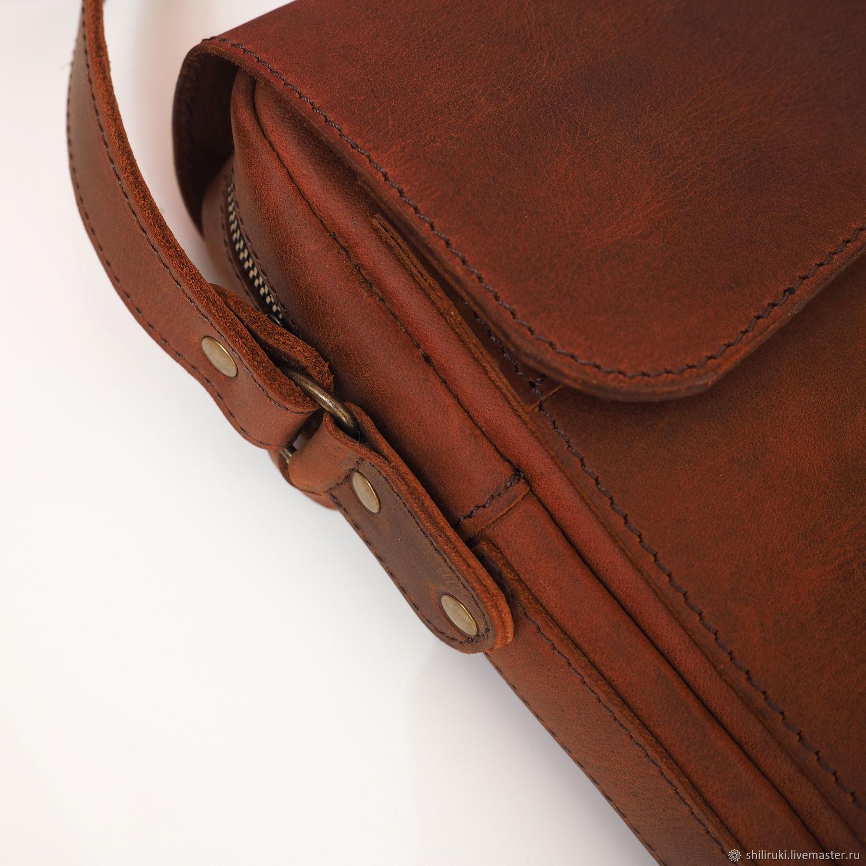 9b2484de7447 Мужские сумки ручной работы. Сумка мужская кожаная. Сумка Планшет OWL  Коньяк с клапаном.