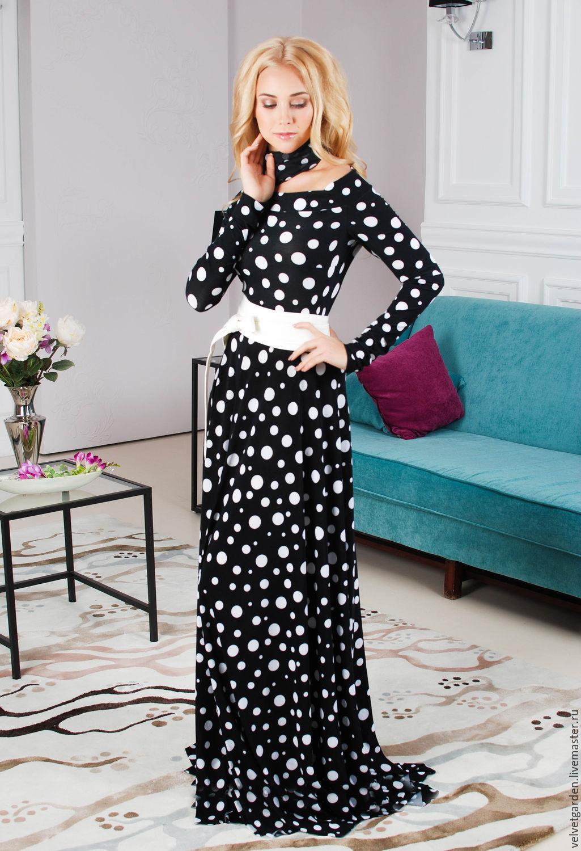Платье в пол горошек купить в