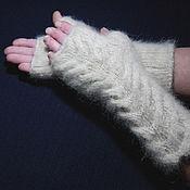 Аксессуары handmade. Livemaster - original item Women`s knitted fingerless gloves `Snow Barkhans`. Handmade.