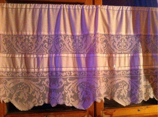 """Текстиль, ковры ручной работы. Ярмарка Мастеров - ручная работа. Купить шторка """"Авиньон"""". Handmade. Филейное вязание, шторы"""