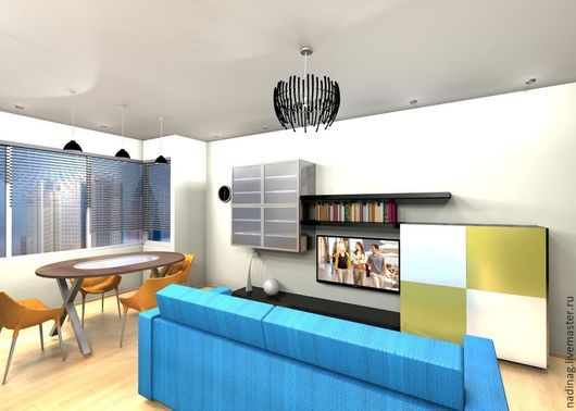 Дизайн интерьеров ручной работы. Ярмарка Мастеров - ручная работа. Купить Дизайн-проект гостиной комнаты. Handmade. 3d