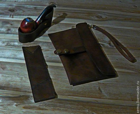 Мужские сумки ручной работы. Ярмарка Мастеров - ручная работа. Купить Комплект для хранения трубки и аксессуаров. Handmade. Коричневый
