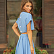 Яркий голубой комплект из юбки и топа.  Дизайнерская одежда на заказ.  Индивидуальный подход. Мастерская моды Masha Koneva.
