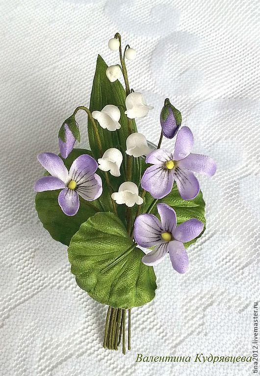"""Цветы ручной работы. Ярмарка Мастеров - ручная работа. Купить Брошь """"Весенние цветы"""". Handmade. Голубой, ландыши, бутоньерка для жениха"""