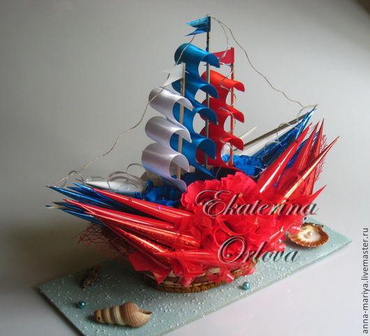 Букеты ручной работы. Ярмарка Мастеров - ручная работа. Купить Корабли...  (букет из конфет). Handmade. Подарок мужчине, день рождения