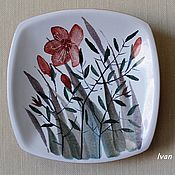 "Посуда ручной работы. Ярмарка Мастеров - ручная работа Декоративная тарелка "" Травы"". Handmade."