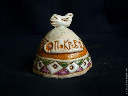 Колокольчики ручной работы. Ярмарка Мастеров - ручная работа. Купить Колокольчик керамический  с птичкой. Handmade. Разноцветный, Керамика, орнамент, глазури