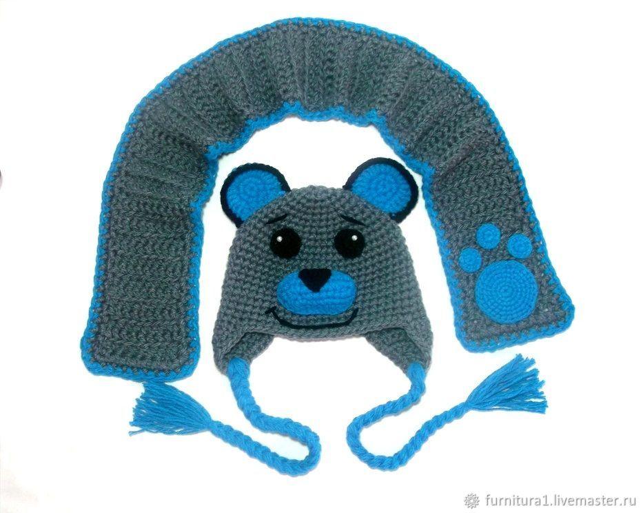 Одежда шапка для малышей мишка теплая вязаная зимняя с ушками серая, Одежда, Москва,  Фото №1