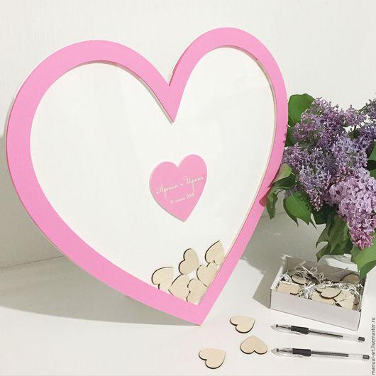 Свадебные аксессуары ручной работы. Ярмарка Мастеров - ручная работа. Купить Сердечко для пожеланий большое. Handmade. Розовый