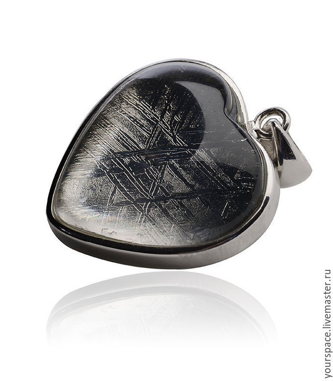 Pendant Heart of 925 silver and meteorite Gibeon, Pendants, St. Petersburg,  Фото №1
