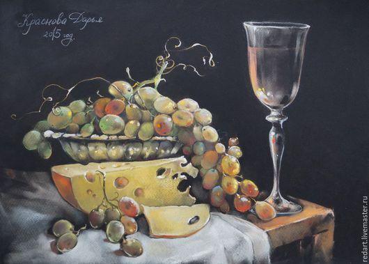 Натюрморт ручной работы. Ярмарка Мастеров - ручная работа. Купить Сыр и виноград.. Handmade. Желтый, виноград, натюрморт с фруктами