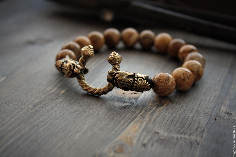 Bracelet with bronze jaguars from landscape Jasper bracelet made of natural ingredi, Bead bracelet, Volgograd,  Фото №1