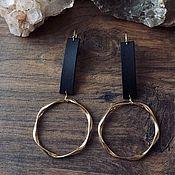 Украшения handmade. Livemaster - original item Genuine leather earrings with circles. Handmade.