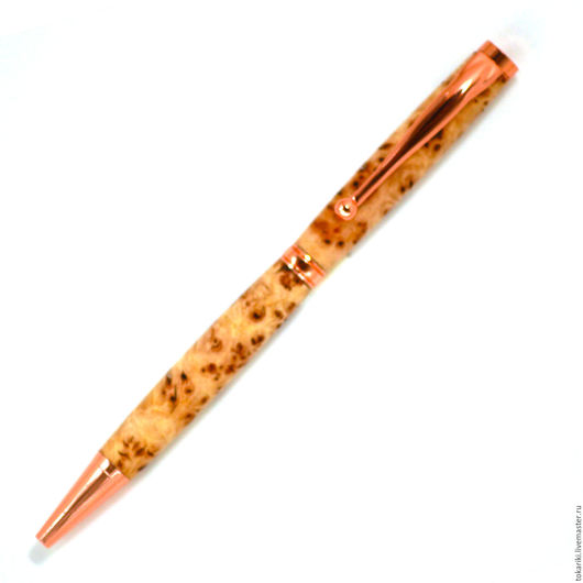 Карандаши, ручки ручной работы. Ярмарка Мастеров - ручная работа. Купить Авторучка Слим кап карагача роз. золото. Handmade.