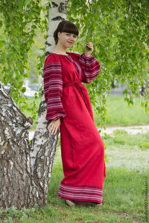 """Этническая одежда ручной работы. Ярмарка Мастеров - ручная работа. Купить Платье """"Этно"""" красное, вариант 2. Handmade."""