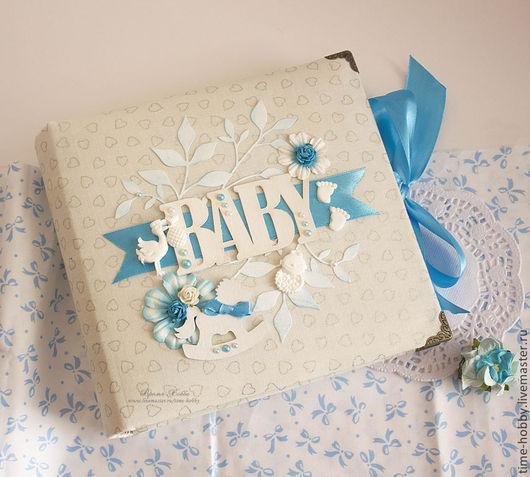 """Подарки для новорожденных, ручной работы. Ярмарка Мастеров - ручная работа. Купить Фотоальбом для малыша """"BABY"""" на 150 фото. Handmade. Голубой"""