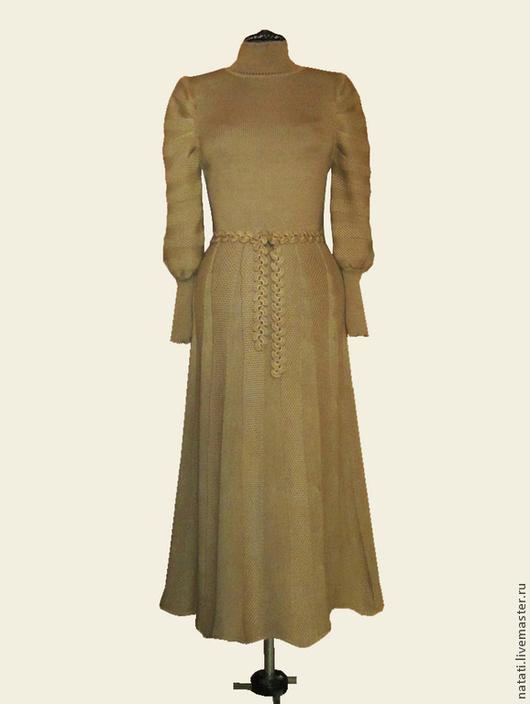 Платья ручной работы. Ярмарка Мастеров - ручная работа. Купить Платье с пышными рукавами бежевое. Handmade. Бежевый, полушерсть