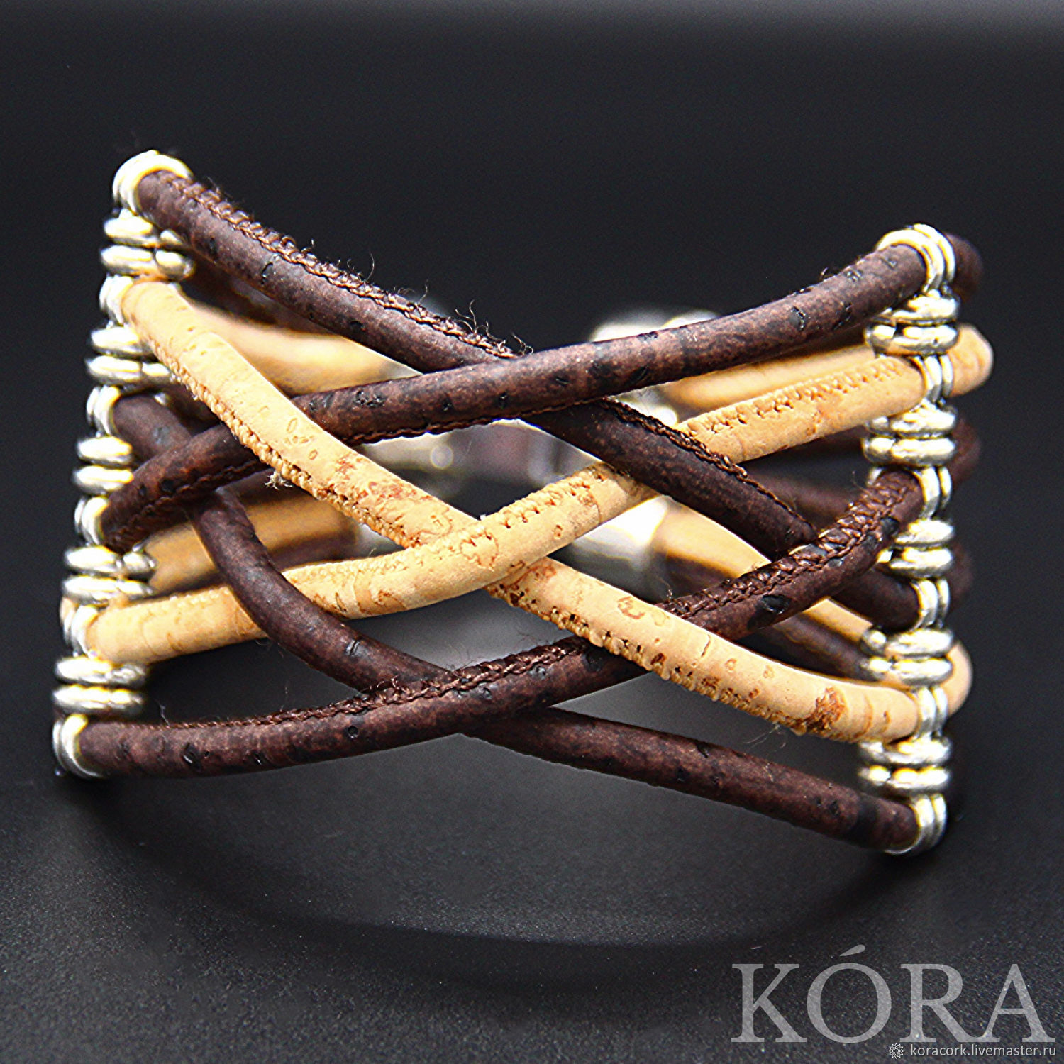 Braided bracelet for women from Portuguese cork B0139bw, Braided bracelet, Moscow,  Фото №1