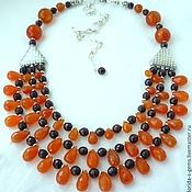 Украшения handmade. Livemaster - original item Elegant NECKLACE 3 strands, CARNELIAN, GARNET, beads.. Handmade.