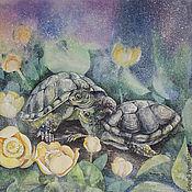 Картины ручной работы. Ярмарка Мастеров - ручная работа Картина акварелью Наше уютное болотце - черепахи. Handmade.