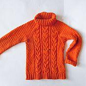 Работы для детей, ручной работы. Ярмарка Мастеров - ручная работа Вязаный детский оранжевый свитер для девочки/мальчика на 4 года.Хлопок. Handmade.