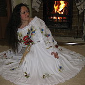 """Одежда ручной работы. Ярмарка Мастеров - ручная работа Вышитое платье""""Маки в васильках""""авторская ручная работа. Handmade."""