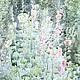 """Картины цветов ручной работы. Ярмарка Мастеров - ручная работа. Купить Акварель"""" Мальвы"""". Handmade. Зеленый, Картины и панно, акварель"""