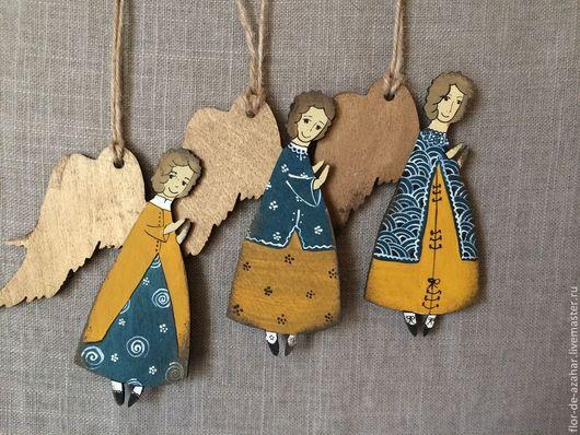 Новый год 2017 ручной работы. Ярмарка Мастеров - ручная работа. Купить Ангелы в желто-зеленых платьях. Handmade. Ангел, рождество
