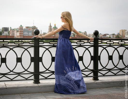 """Платья ручной работы. Ярмарка Мастеров - ручная работа. Купить Сарафан """"Цветущий луг"""". Handmade. Тёмно-синий, для девушки для женщины"""