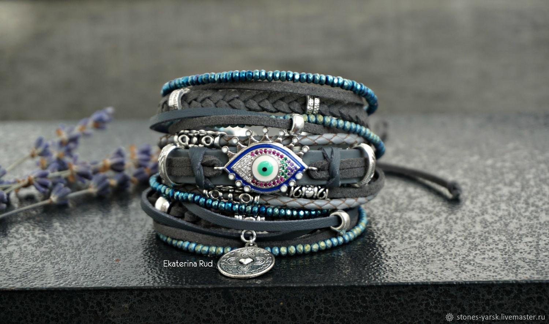 Grey BOHO leather bracelet with 'Don't blink' eye', Bead bracelet, Moscow,  Фото №1