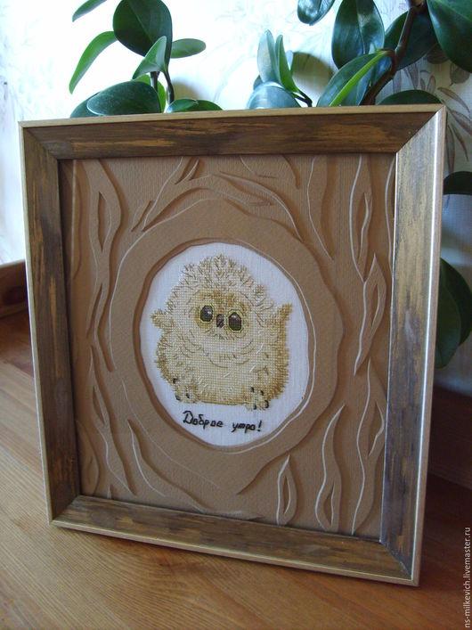 """Животные ручной работы. Ярмарка Мастеров - ручная работа. Купить вышитая картина """"Доброе утро!"""". Handmade. Коричневый, картина, вышивка"""