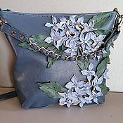 Сумки и аксессуары handmade. Livemaster - original item Bag leather women`s crossbody Bag hobo small Hydrangea serogroup. Handmade.