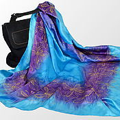 Аксессуары handmade. Livemaster - original item Silk scarf batik Azure butterfly. Handmade.
