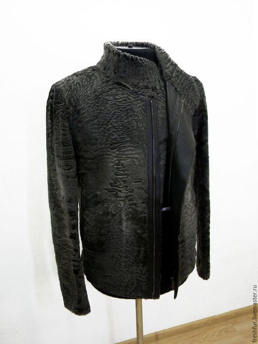 Верхняя одежда ручной работы. Ярмарка Мастеров - ручная работа. Купить Куртка мужская на молнии из каракульчи. Handmade. Серый