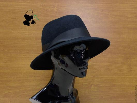 Шляпы ручной работы. Ярмарка Мастеров - ручная работа. Купить Стильная женская фетровая шляпа Федора. Чёрная.. Handmade. Черный