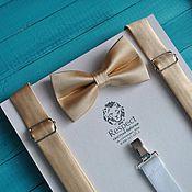 Аксессуары ручной работы. Ярмарка Мастеров - ручная работа Золотая галстук бабочка + золотые подтяжки для свадьбы в золотом цвете. Handmade.