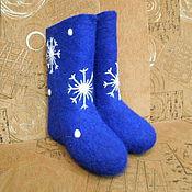 Обувь ручной работы. Ярмарка Мастеров - ручная работа Валенки синяя снежинка. Handmade.