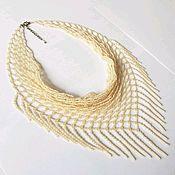 Necklace handmade. Livemaster - original item Necklace scarf beaded beige (Slavyanka). Handmade.