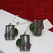 Украшения handmade. Livemaster - original item Silver set with natural jade. Earrings and ring 925 silver. Handmade.