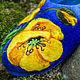 Обувь ручной работы. Валяные тапочки  «Жёлтые маки». Угринович Ирина. Ярмарка Мастеров. Рисунок шерстью
