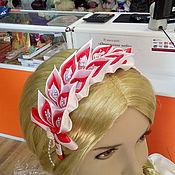 Обручи ручной работы. Ярмарка Мастеров - ручная работа Ободок: Ободок бело-красный. Handmade.