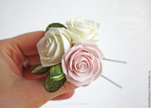 Свадебные украшения ручной работы. Ярмарка Мастеров - ручная работа. Купить Розы из полимерной глины в прическу.. Handmade. Decoclay