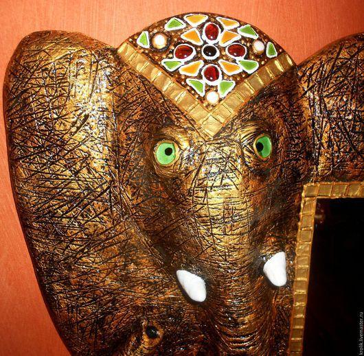 """Зеркала ручной работы. Ярмарка Мастеров - ручная работа. Купить Зеркало""""Золотой слон"""".. Handmade. Золотой, украшение для интерьера, зеркало настенное"""